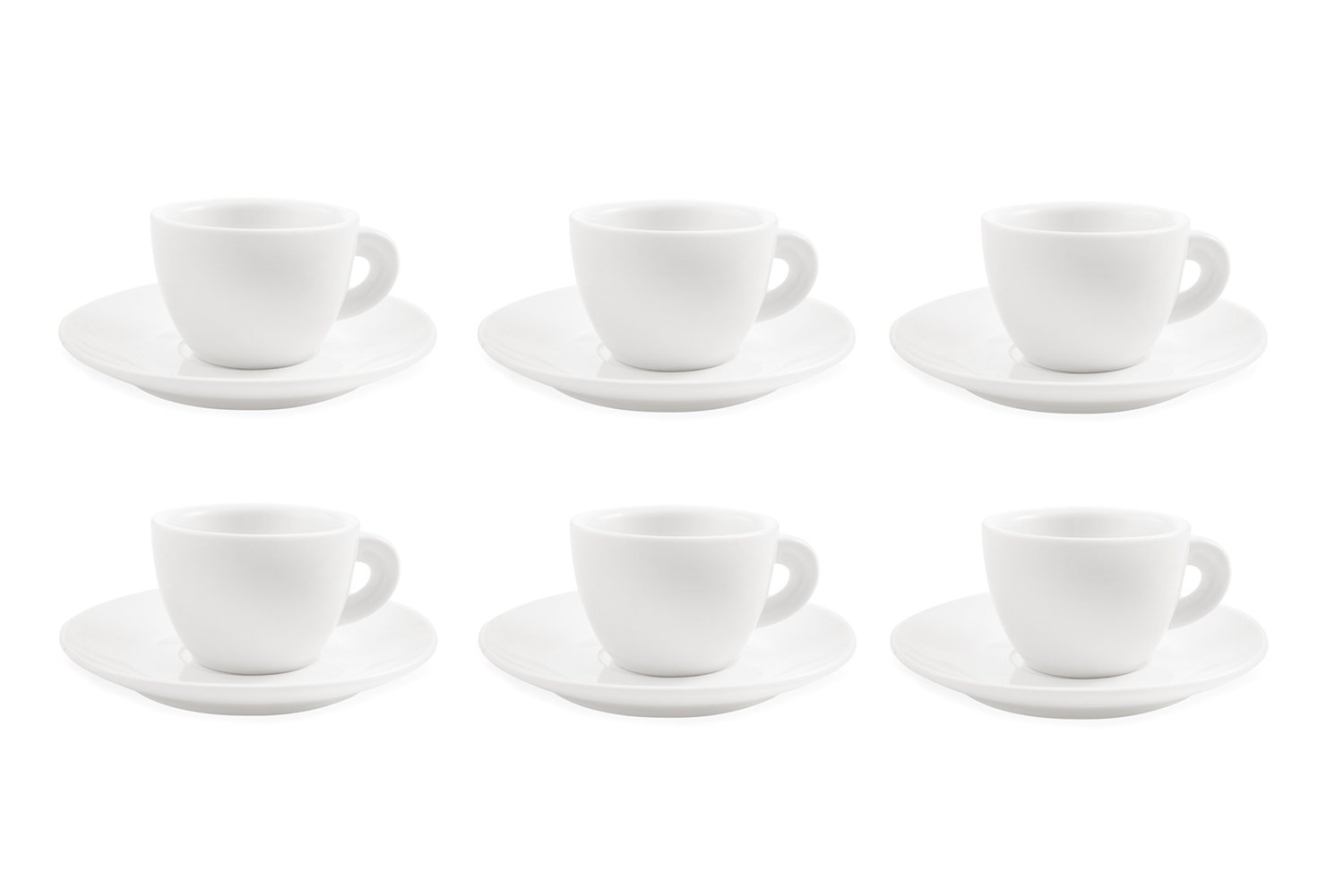 Galileo Casa White Set of 6 Tea Cups with Saucers, Porcelain 2177351