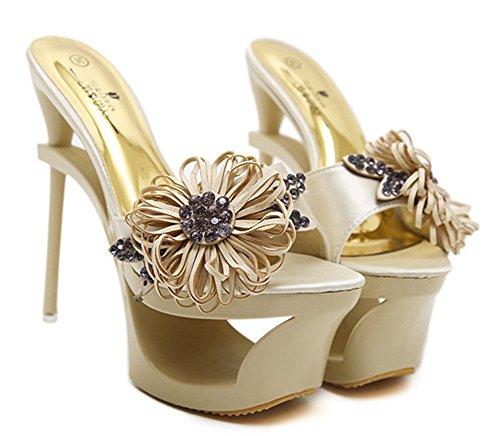 Mules Aiguille Haut À Chaussures Fleurs Abricot Femme Mode Aisun Talon nxq4RvO8T