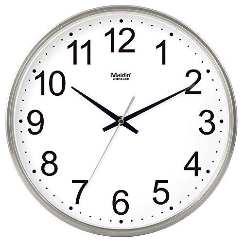 BABYQUEEN 14 Inch Stylish wall Clock Office living room simple Silent clock creative quartz clocks Calendar General Edition Silver