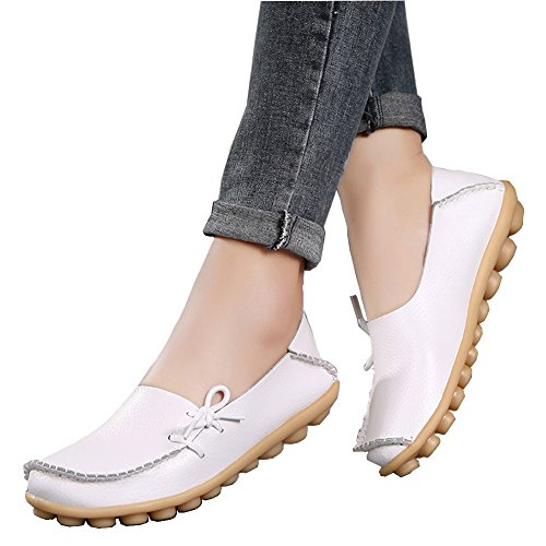 best Moccasins Toe Casual show Breathable Shoes White2 brand Wild Leather Women's Fashion Flats Driving Round Loafers v05zxz
