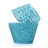 UNIQLED Filigree Artistic Bake Cake Paper Cups Little Vine Lace Laser Cut Liner Cupcake Wrappers Baking Cup Muffin Holder Case for Wedding Birthday Party Decoration (60, Sky Blue)