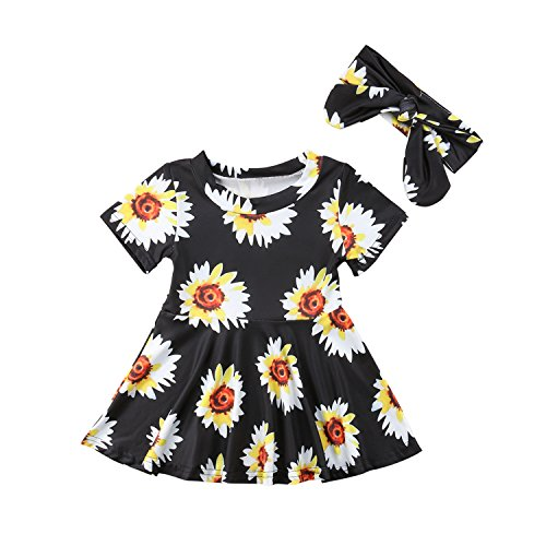 WIFORNT Infant Baby Girls Sunflower Short Sleeve Ruffle Hem Dress Princess Party Sundress with Headband 2pcs Outfits (0-6 Months)