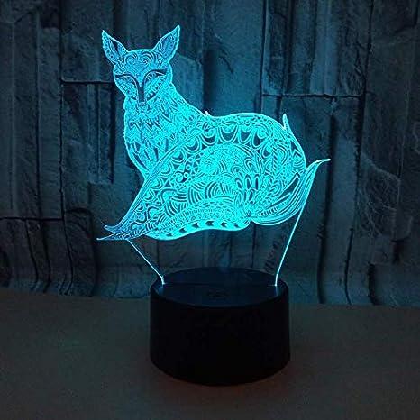 3D Ilusión óptica Lámpara LED Luz Zorro estampado de noche ...