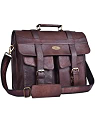 Handmade_world 16 Inch Brown Vintage Distressed Leather Messenger Bags for Laptop Best Computer Satchel School...