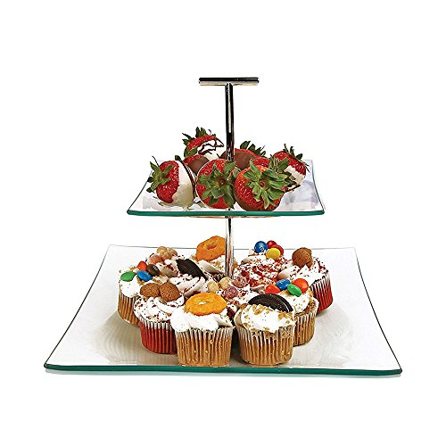 2 Tier Server - Tiered Glass Serving Stand Square Cake Plates with Metal Handle - Food Display Platter for Party and Event, Best for Appetizers, Snacks and Desserts (Plates Two Glass Square)