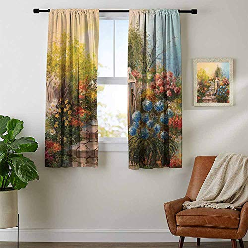 (Mozenou Flower, Curtains x Pattern, Opium Poppy Field and Beautiful Yard Sunset Over The Ocean Under The Clouds Picture, for Bedroom, W72 x L72 Inch Multicolor)