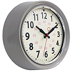 YAVIS Nordic Wall Clock, Vintage/Retro/Antique Classic Clock, Non-Ticking Silent Sweep Movement-10.25 INCH (Gray)