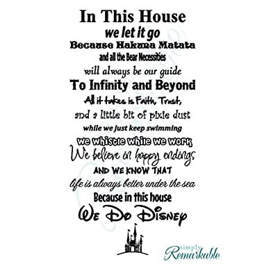In This House We Do Disney - Vinyl Wall Decal Sticker - Made in USA - Disney Family House Rules (11  x 22 ), Black)