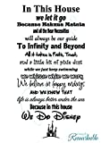 In This House We Do Disney - Vinyl Wall Decal Sticker - Made in USA - Disney Family House Rules (22'' x 44'', Black)