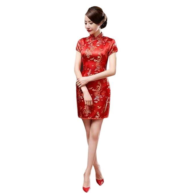 3cc1c903d6ae Hzjundasi Cinese Tradizionale Donne Retro Floreale Stampato Maniche Corte  Cheongsam Broccato Qipao Vestito da Sera  Amazon.it  Abbigliamento