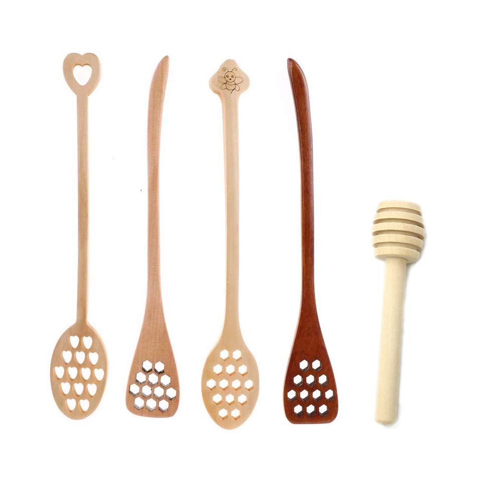 Zerywan Honey Dipper 4PCS Natural Wooden Honey Spoon Mixing Stick 7.3Inch Long Handle Hollow Shape with 1 PCS Mini Honey Dipper Wooden Stick for Honey Jar Dispense