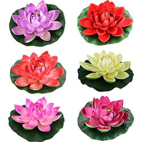 (Lightingsky Artificial Floating Foam Lotus Flower Pond Decor Water Lily (6 Colors-1, Meduim-18cm))