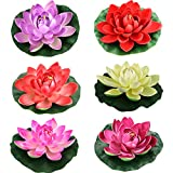 Lightingsky Artificial Floating Foam Lotus Flower Pond Decor Water Lily (6 Colours-1, Small-10cm)
