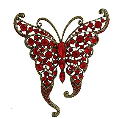 Hot TTjewelry Vintage Butterfly Insect Brooch Pin Rhinestone Crystal