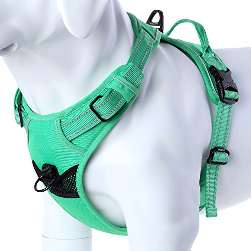 mokcci Front Dog Harness No Pull Pet Harness Reflective Adjustable Vest Two Leash Attachments Small Medium Large Dog