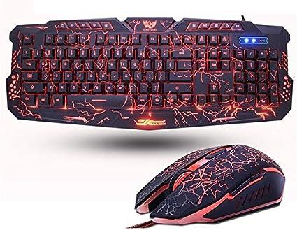 ATMD Teclado Ruso Inglés Gaming Keyboard Grieta 3-Color ...