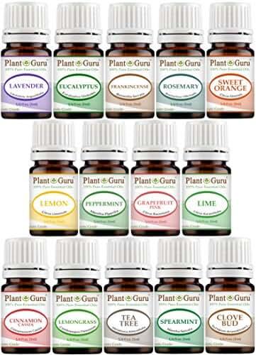 Essential Oil Set 14 - 5 ml. Pure Therapeutic Grade Includes Frankincense, Lavender, Peppermint, Rosemary, Orange, Tea Tree, Eucalyptus, Grapefruit, Lemon, Lime, Clove, Spearmint, Lemongrass, Cinnamon