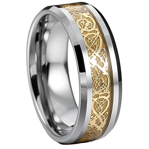 Stylish Two Tone Wedding Band (MOWOM Silver Gold Two Tone Tungsten Ring Band Irish Celtic Knot Dragon Comfort Fit Wedding Size 9)