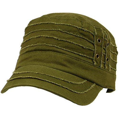 100% Cotton Light Summer Cool Military Cadet Castro Distress Hat Cap Olive