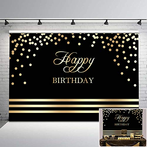 Mehofoto Happy Birthday Backdrop Black and Gold Birthday Party Photo Backdrop 7x5ft Gold Dots Black Birthday Background for Any Age Birthday Decorations
