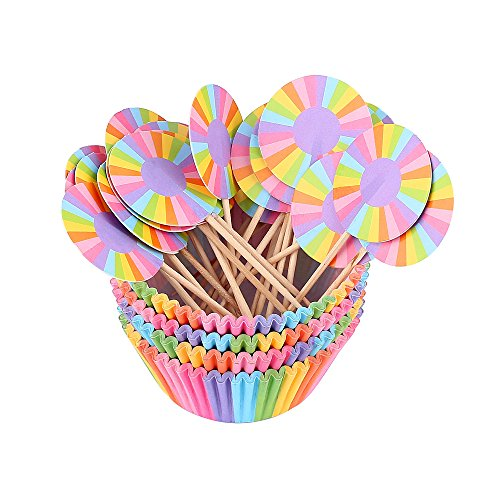Crystallove 200pcs Standard Size 2 Inch Cupcake Papers Baking Cups with 24pcs Cupcake Toppers (Rainbow)