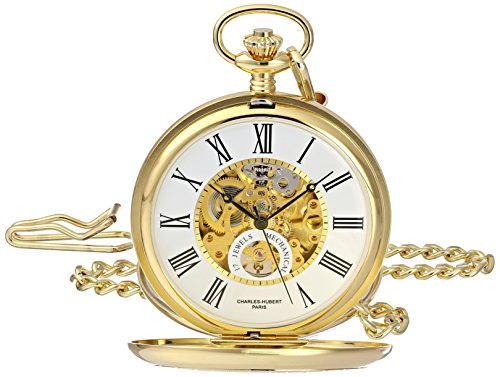 Charles-Hubert, Paris 3973-G Classic Collection Analog Display Mechanical Hand Wind Pocket Watch by Charles-Hubert, Paris