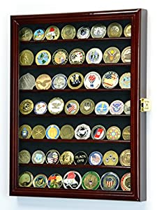 Military Challenge Coin Display Case Cabinet Holder Wall Rack Box 98% UV Lockable