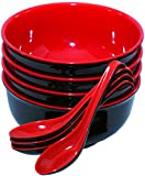 Set of 4 Large Melamine Soup Noodle Cereal Bowls and Spoons - Red and Black 6.5 inches