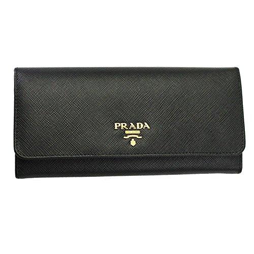 Prada Women's Saffiano Flap Wallet Black (Prada Long Wallet)