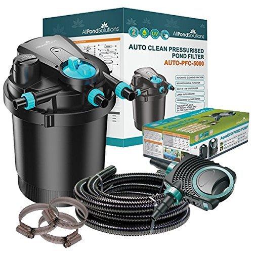 AUTO-PFC-5000 Kit Auto Cleaning Pressurised Koi Pond Filter UV Steriliser All in One Kit 5000L H