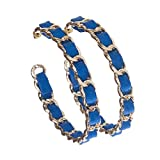 Gold Chain Link Faux Leather Basketball Wives Hoop Earring 2.5' Inch (Blue)