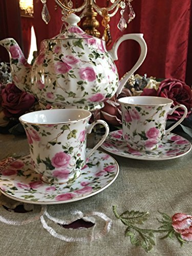 Pink Roses Tea Set, Tea For Two: 6 Cup Porcelain Tea Pot and 2 Adult Cups and (24k Gold Trimmed Tea)
