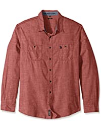 Men's Slim Fit Solid Long Sleeve Sport Shirt