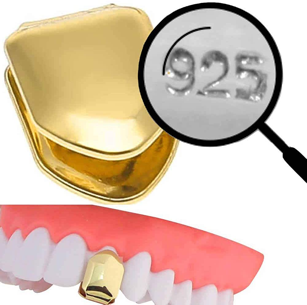 Harlembling Solid 925 Sterling Silver - 14K Gold Plated - Real Single Tooth Grillz - Grills Cap for Teeth - Real Solid Silver NOT Brass
