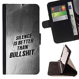 Stuss Case / Funda Carcasa PU de Cuero - Silencio Mejor Lección texto Inspiring - Sony Xperia Style T3