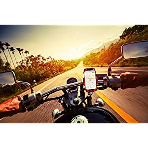 "Widras Universal Premium Bike Phone Mount for Motorcycle - Bike Handlebars, Adjustable, Fits iPhone 8 7 | 7 Plus, 8 | 8 Plus, iPhone 6s | 6s Plus, Galaxy S7, S6, S5, Holds Phones Up To 3.5"" Wide"