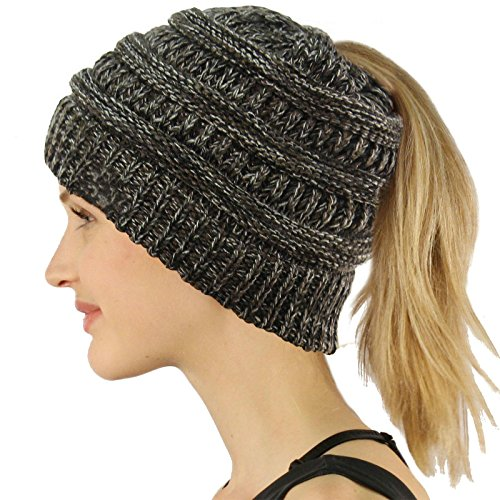 COCO LEE Chic Black and White Knit Hat Cable Beanie Stretch Chunky Winter Bun Ponytail Beanie Tail Ponytail Messy Bun Beanie Solid Ribbed Hat Cap For Women Girls (Beanie Long Solid Winter)