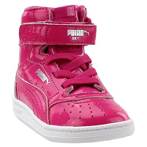 PUMA Girls' Sky II HI Patent INF Sneaker, Fuchsia Purple Silver, 5 M US Toddler