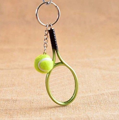 1 Pc Mini Pocket Green Tennis Racket Ball Keychain Keyring Keyfob Lover Sports Equipment Keys Chains Rings Tags Strap Wrist Classical Popular Cute Wristlet Utility Keyrings Tool Teen Gift, - Shop 02 Locator