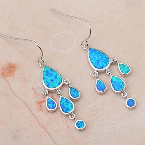 Chokushop Elegant design Retail Blue Fire Opal 925 Silver Drop Earrings Fashionl Jewelry OE188A
