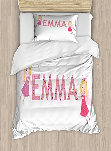 Ambesonne Emma Twin Size Duvet Cover Set, Cute Fairy Princesses Holding a Popular Widespread Girl Name with Polka Dots Pattern, Decorative 2 Piece Bedding Set with 1 Pillow Sham, Multicolor (Emma Set Twin Comforter)