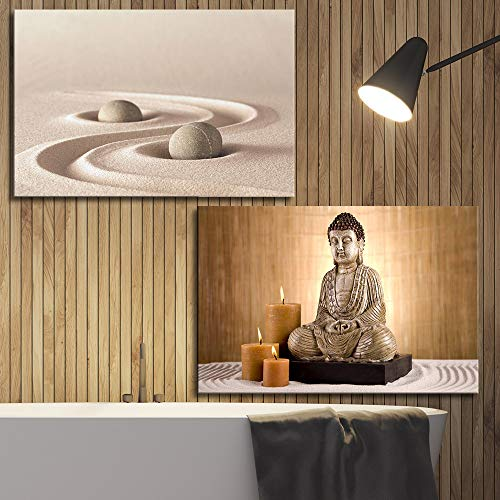 2 Panel Spa Still Life with Zen Garden and Buddha Statue x 2 Panels