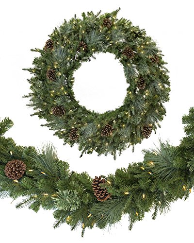 Balsam Hill Mixed Evergreen Prelit Artificial Christmas Wreath, 30 inches, Clear LED Lights