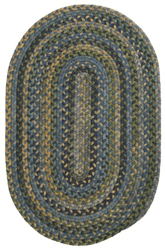Braided 7'x9' Oval Area Rug in Ocean color from Copper Crush (Copper Wool Rug)