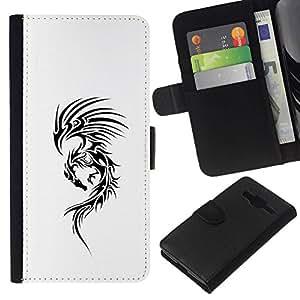 All Phone Most Case / Oferta Especial Cáscara Funda de cuero Monedero Cubierta de proteccion Caso / Wallet Case for Samsung Galaxy Core Prime // White Ink Tattoo Black Decal Ink