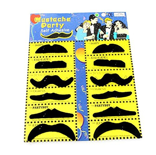 Teanfa 12PCS Black Self-adhesive Funny Fake Mustache False Beard for Halloween Costume Party Cosplay Makeup (Artificial Moustache)