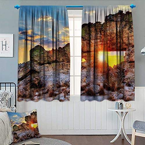 Chaneyhouse Landscape Patterned Drape for Glass Door Sunset at Rock Formation La Fenetre Madagascar Sunbeams Nature Scenery Waterproof Window Curtain 55