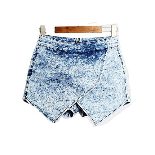 Gonna Vintage Pantaloncini a Oudan Blu Retro da Shorts vita jeans asimmetrica donna alta di 8qdXwq