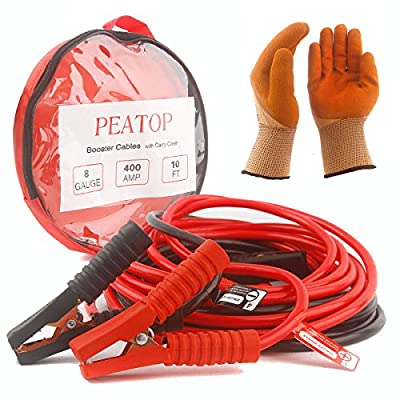 Jumper Cables Power Booster Cable Heavy Duty 8/4Gauge 400/900AMP 10/20ft Copper Jaw with Carry Bag Safety Gloves by PEATOP