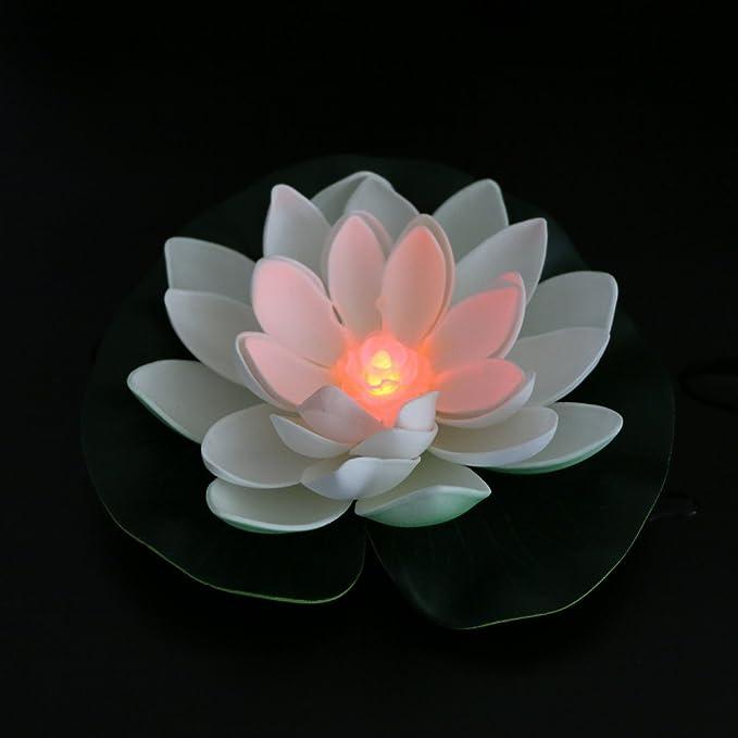 ... de luto LED de colores mezclados e impermeables, con flor de lirio flotante con luz que cambia de color, lámpara de noche para piscina, jardín, pecera, ...